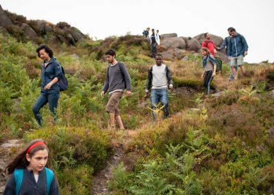 descending from Stanage Edge in Peak District National Park heading towards landscape drawing workshop