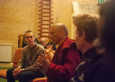 Lama Gžen Zen and Edward from Sheffield Buddhist Centre came to discuss with us.