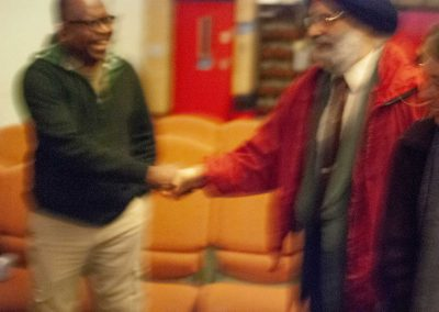 Victor's shaking hands after a session with Mr S.S. Dhillon who is a Sheffield Sikh representative who joined us for an evening on Sikhism.