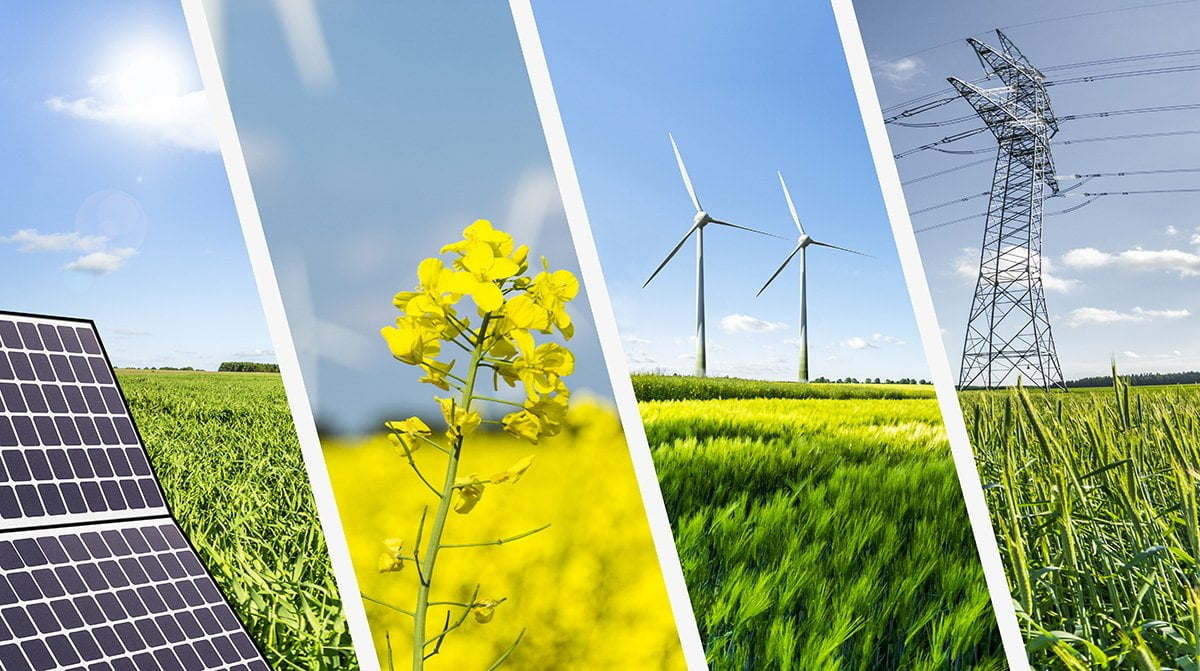 renewable energy sources including solar, bio and wind